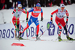 HOLMENKOLLEN, OSLO, NORWAY - March 16: (R-L) Petter Eliassen of Norway (NOR), Alexander Legkov of Russia (RUS) and Martin Johnsrud Sundby of Norway (NOR) during the Men 50 km mass start, free technique, at the FIS Cross Country World Cup on March 16, 2013 in Oslo, Norway. (Photo by Dirk Markgraf)