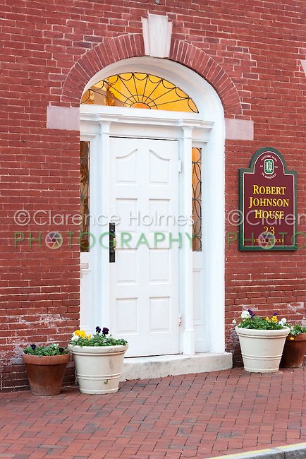 The front entrance to the historic Robert Johnson House in Annapolis, Maryland.