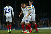 Bryn Morris of Portsmouth is congratulated after scoring the first goal during Southend United vs Portsmouth, Sky Bet EFL League 1 Football at Roots Hall on 16th February 2019