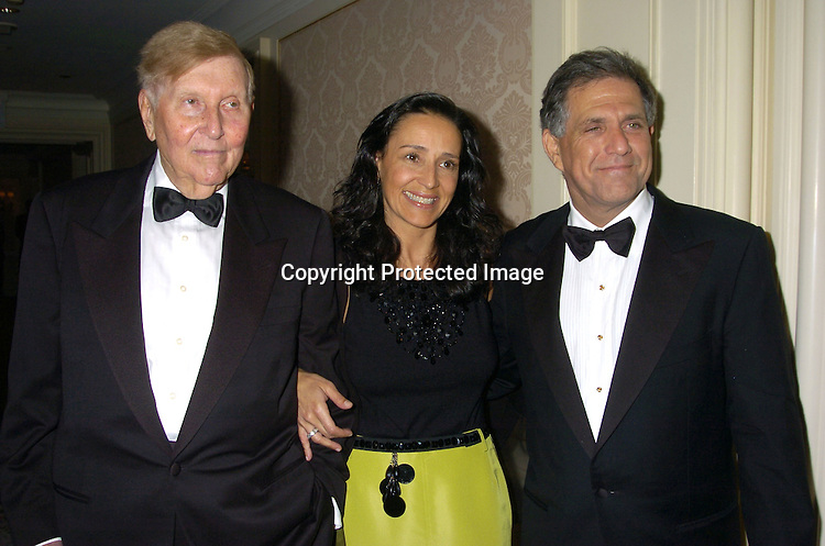 Sumner Redstone and wife Paula and Leslie Moonves..at the Museum of The Moving Image Honors Gala honoring Jeffrey Bewkes and Leslie Moonves on May 4, 2005 at The St Regis Hotel. ..Photo by Robin Platzer, Twin Images
