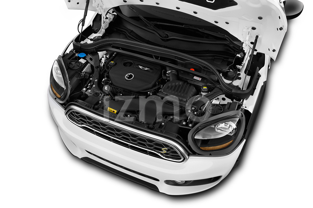 Car stock 2018 Mini Countryman S 5 Door Hatchback engine high angle detail view