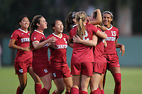 STANFORD, CA  – September 9, 2016: Stanford wins 4-1 over Minnesota at Cagan Stadium. Team celebrates Andi Sullivan's first goal of the game.