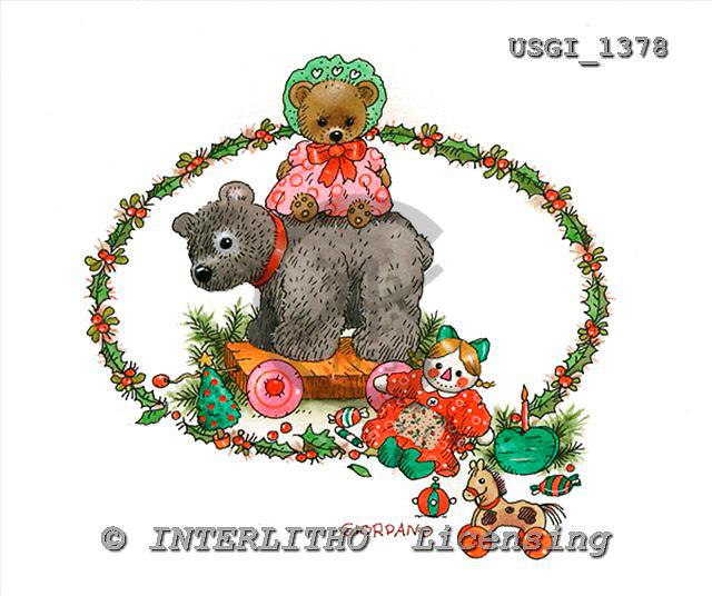GIORDANO, CHRISTMAS ANIMALS, WEIHNACHTEN TIERE, NAVIDAD ANIMALES, Teddies, paintings+++++,USGI1378,#XA#