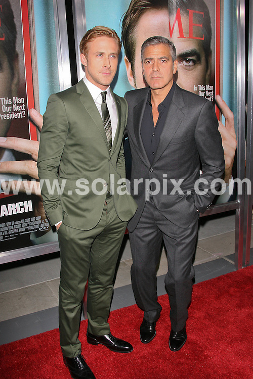 """**ALL ROUND PICTURES FROM SOLARPIX.COM**                                             **SYNDICATION RIGHTS FOR UK, AUSTRALIA, DENMARK, PORTUGAL, S. AFRICA, SPAIN & DUBAI (U.A.E) & ASIA (EXCLUDING JAPAN) ONLY**                                                                                  Caption: George Clooney - """"The Ides of March"""" Los Angeles Premiere - Arrivals - AMPAS Samuel Goldwyn Theater - Beverly Hills, CA, USA                                                                              This pic: Ryan Gosling and George Clooney                                                                                           JOB REF:14034        PHZ       DATE:27.09.2011                                                            **MUST CREDIT SOLARPIX.COM OR DOUBLE FEE WILL BE CHARGED**                                                                      **MUST AGREE FEE BEFORE ONLINE USAGE**                               **CALL US ON: +34 952 811 768 or LOW RATE FROM UK 0844 617 7637**"""