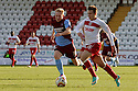 Luke Freeman of Stevenage escapes from Mark Duffy of Scunthorpe. Stevenage v Scunthorpe United - npower League 1 -  Lamex Stadium, Stevenage - 6th October, 2012. © Kevin Coleman 2012