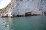 Chalk cliff caves, Ballard Point headland, near Old Harry Rocks, Swanage, Dorset, England