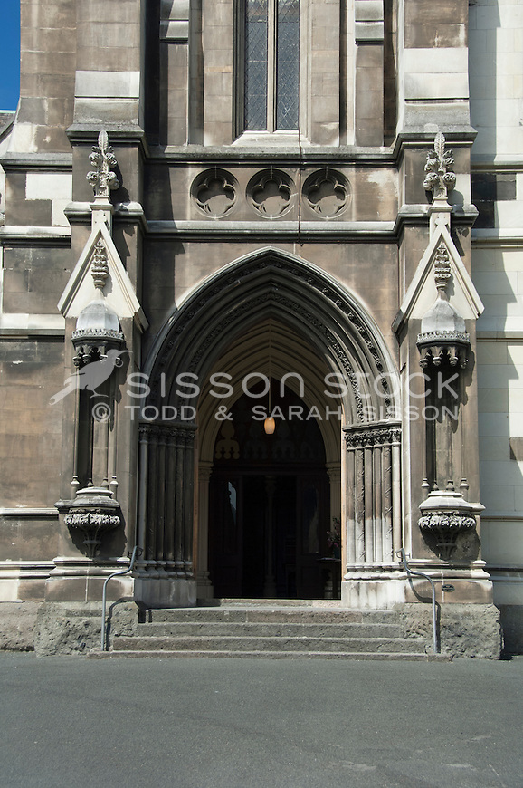 Designed in the Gothic Architectural style by R.A Lawson - the front doors of the First Church of Otago, Dunedin, South Island New Zealand - stock photo, canvas, fine art print