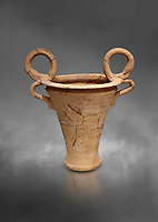 Minoan  ritual vessel with figure of eight handles imitating Egyptian prototypes, Hagia Triada Royal Villa 1500-1540 BC; Heraklion Archaeological  Museum, grey background.