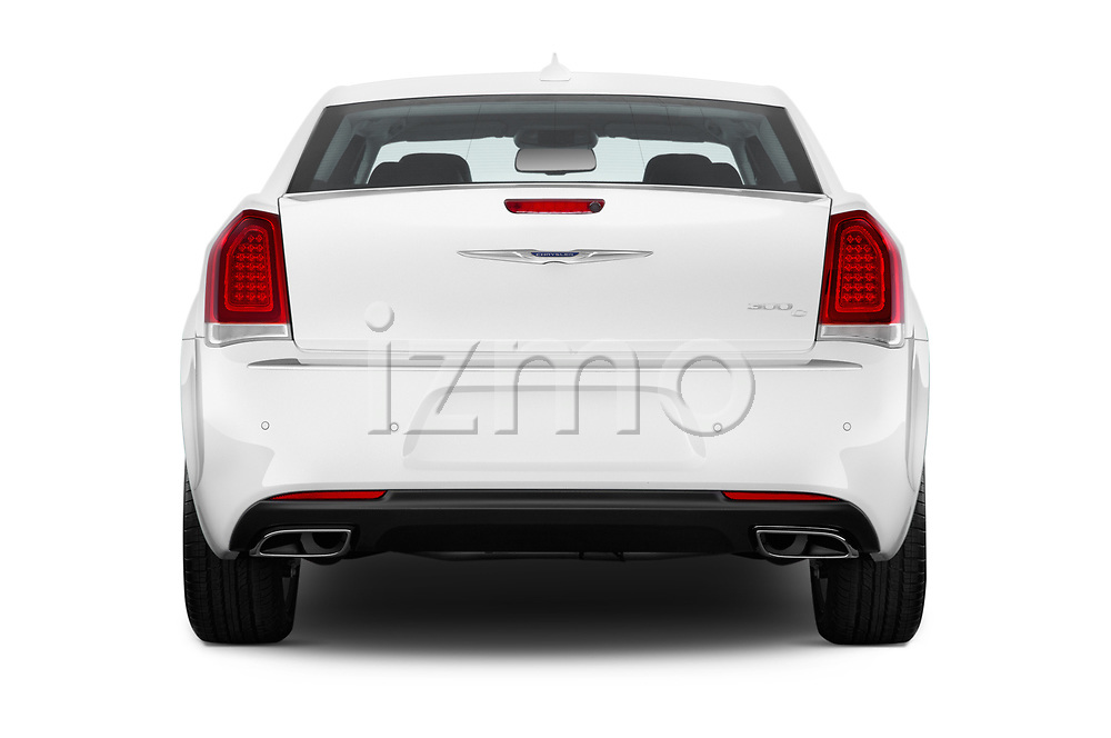 Straight rear view of 2017 Chrysler 300 C 4 Door Sedan Rear View  stock images
