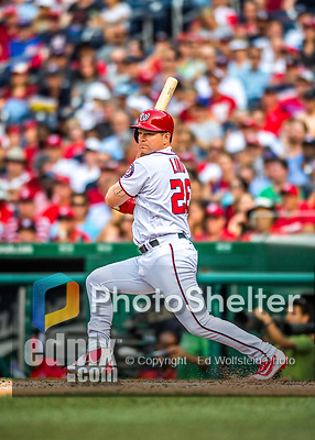 29 June 2017: Washington Nationals first baseman Adam Lind in action against the Chicago Cubs at Nationals Park in Washington, DC. The Cubs rallied against the Nationals to win 5-4 and split their 4-game series. Mandatory Credit: Ed Wolfstein Photo *** RAW (NEF) Image File Available ***
