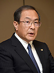 July 21, 2015, Tokyo, Japan - Chairman Masashi Muromachi of Toshiba Corp. speaks during a news conference at its headquarters in Tokyo on Tuesday, July 22, 2015. Muromachi succeeds President Hisao Tanaka, who resigned for taking responsibility for his part in manipulating deceptive accounting. The Japanese electronics and electrical equipment group's manipulated profits add up to 1.25 billion dollars from fiscal 2008 through December 2014.  (Photo by Natsuki Sakai/AFLO) AYF -mis-