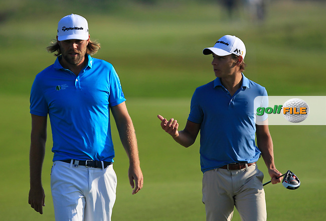Johan Carlsson (SWE) and Joakim Lagergren (SWE) on the 3rd fairway during Round 1 of the 2016 KLM Open at the Dutch Golf Club at Spijk in The Netherlands on Thursday 08/09/16.<br /> Picture: Thos Caffrey | Golffile