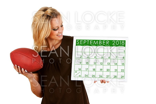Cute series with a Caucasian woman holding a calendar for different times of the year.