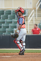 Hagerstown Suns catcher Jeyner Baez (14) on defense against the Kannapolis Intimidators at Kannapolis Intimidators Stadium on May 6, 2018 in Kannapolis, North Carolina. The Intimidators defeated the Suns 4-3. (Brian Westerholt/Four Seam Images)