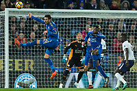 Vicente Iborra of Leicester City heads away a corner during the Premier League match between Leicester City and Tottenham Hotspur at the King Power Stadium, Leicester, England on 28 November 2017. Photo by James Williamson / PRiME Media Images.