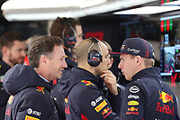 27th February 2020; Circuit De Barcelona Catalunya, Barcelona, Catalonia, Spain; Formula 1 2nd Pre season Testing Day Two; Christian Horner, Team Principal of Red Bull Racing talks with Max Verstappen