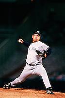 Hideki Irabu of the New York Yankees during a game at Anaheim Stadium in Anaheim, California during the 1997 season.(Larry Goren/Four Seam Images)