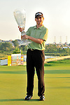 30 August 2009: Heath Slocum holds his trophy after winning The Barclays PGA Playoffs at Liberty National Golf Course in Jersey City, New Jersey.