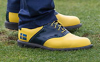 Johan Carlsson personalised Footjoy Golf Shoes displaying the Swedish flag during the GOLFSIXES ProAm  at Centurion Club, St Albans, England on 5 May 2017. Photo by Andy Rowland.