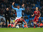 9th January 2018, Etihad Stadium, Manchester, England; Carabao Cup football, semi-final, 1st leg, Manchester City versus Bristol City; Danilo of Manchester City raises his hands claiming no foul