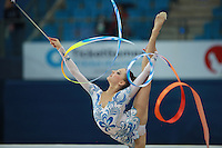 Melitina Staniouta of Belarus balances with ribbon at 2009 Pesaro World Cup on May 2, 2009 at Pesaro, Italy.  Photo by Tom Theobald.