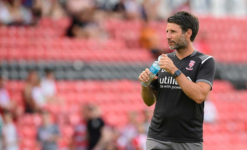 Lincoln City manager Danny Cowley during the pre-match warm-up<br /> <br /> Photographer Chris Vaughan/CameraSport<br /> <br /> Football Pre-Season Friendly - Lincoln City v Stoke City - Wednesday July 24th 2019 - Sincil Bank - Lincoln<br /> <br /> World Copyright © 2019 CameraSport. All rights reserved. 43 Linden Ave. Countesthorpe. Leicester. England. LE8 5PG - Tel: +44 (0) 116 277 4147 - admin@camerasport.com - www.camerasport.com