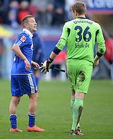 FUSSBALL   1. BUNDESLIGA  SAISON 2011/2012   32. Spieltag FC Augsburg - FC Schalke 04         22.04.2012 Lewis Holtby (li.) mit Lars Unnerstall (FC Schalke 04)