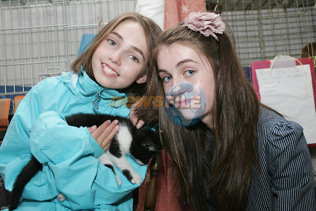 Eleanor and Gretta O'Brien with their adopted kitten in Drogheda Animal Rescue, Scholes Lane...Photo NEWSFILE/Jenny Matthews.(Photo credit should read Jenny Matthews/NEWSFILE)....This Picture has been sent you under the condtions enclosed by:.Newsfile Ltd..The Studio,.Millmount Abbey,.Drogheda,.Co Meath..Ireland..Tel: +353(0)41-9871240.Fax: +353(0)41-9871260.GSM: +353(0)86-2500958.email: pictures@newsfile.ie.www.newsfile.ie.FTP: 193.120.102.198.