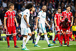 Real Madrid Marcelo and Karim Benzema during Semi Finals UEFA Champions League match between Real Madrid and Bayern Munich at Santiago Bernabeu Stadium in Madrid, Spain. May 01, 2018. (ALTERPHOTOS/Borja B.Hojas)