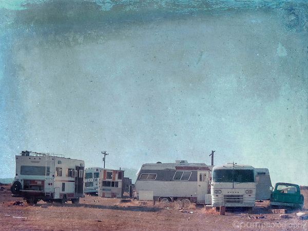 Textured image of abandoned RV's
