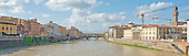 Wide shot of the Arno River looking towards the Ponte Vecchio or Old Bridge in Florence, Italy on Tuesday, October 22, 2013.  The bridge, which dates from 1345 is the oldest surviving bridge in the city.  It houses antique and specialized jewelry shops.<br /> Credit: Ron Sachs / CNP