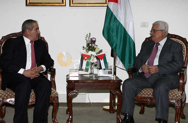 Palestinian President, Mahmoud Abbas (Abu Mazen) during a meeting with the Jordanian Foreign Minister Nasser jodeh in Ramallah on Dec 5,2009. Photo by Thaer Ganaim