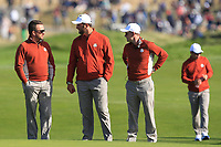 Graeme McDowell, Jon Rahm and Luke Donald (Team Europe) on the 9th green during Saturday Foursomes at the Ryder Cup, Le Golf National, Ile-de-France, France. 29/09/2018.<br /> Picture Thos Caffrey / Golffile.ie<br /> <br /> All photo usage must carry mandatory copyright credit (&copy; Golffile | Thos Caffrey)