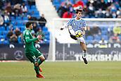 7th January 2018, Estadio Municipal de Butarque, Legales, Spain; La Liga football, Leganes versus Real Sociedad; Diego Rico (Leganes FC) watches as Alvaro Odriozola (Real Sociedad) brings down a high ball