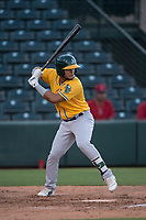 AZL Athletics third baseman Jordan Diaz (10) at bat during an Arizona League game against the AZL Angels at Tempe Diablo Stadium on June 26, 2018 in Tempe, Arizona. The AZL Athletics defeated the AZL Angels 7-1. (Zachary Lucy/Four Seam Images)