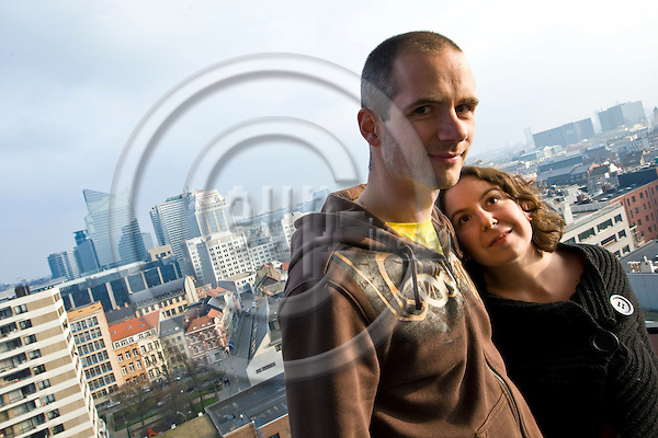 BRUSSELS - BELGIUM - 21 FEBRUARY 2009 -- Living in Brussels. -- The young couple Zeynep Platin, air-traffic controller and  Joachim Adam, fireman live in the center of Brussels in an 22 storey apartment building on the 12th floor in a one bedroom flat. -- PHOTO: Juha ROININEN / EUP-IMAGES