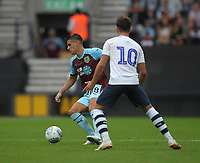 Burnley's Ashley Westwood battles with Preston North End's Josh Harrop<br /> <br /> Photographer Mick Walker/CameraSport<br /> <br /> Football Pre-Season Friendly - Preston North End  v Burnley FC  - Monday 23st July 2018 - Deepdale  - Preston<br /> <br /> World Copyright &copy; 2018 CameraSport. All rights reserved. 43 Linden Ave. Countesthorpe. Leicester. England. LE8 5PG - Tel: +44 (0) 116 277 4147 - admin@camerasport.com - www.camerasport.com