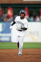 Kane County Cougars third baseman Henry Castillo (4) runs the bases after hitting a home run during a game against the Great Lakes Loons on August 13, 2015 at Fifth Third Bank Ballpark in Geneva, Illinois.  Great Lakes defeated Kane County 7-3.  (Mike Janes/Four Seam Images)