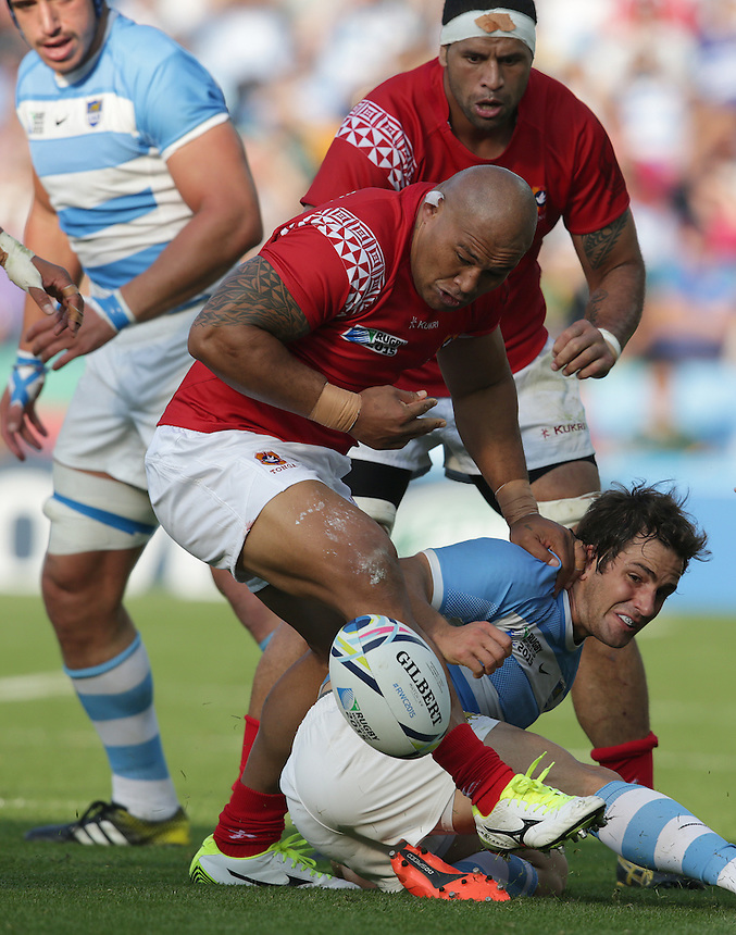 Tonga's Sona Taumalolo fumbles the ball<br /> <br /> Photographer Stephen White/CameraSport<br /> <br /> Rugby Union - 2015 Rugby World Cup Pool C - Argentina v Tonga - Sunday 4th October 2015 - King Power Stadium - Leicester <br /> <br /> &copy; CameraSport - 43 Linden Ave. Countesthorpe. Leicester. England. LE8 5PG - Tel: +44 (0) 116 277 4147 - admin@camerasport.com - www.camerasport.com