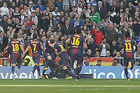 FC Barcelona's Jordi Alba, David Villa, Andres Iniesta, Daniel Alves, Leo Messi, Sergio Busquets and Thiago Alcantara celebrate goal during La Liga match.March 02,2013. (ALTERPHOTOS/Acero) /NortePhoto