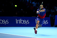 15th November 2019; 02 Arena. London, England; Nitto ATP Tennis Finals; Juan Sebastien Cabal (COL) returns serve in his doubles  match against Kevin Krawietz (GER) and Andreas Mies (GER) - Editorial Use