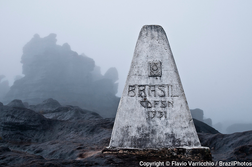 The triple border point of Venezuela, Brazil and Guyana, in Mount Roraima or Roraima Plateau.