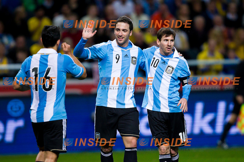06.02.2013, Friends Arena, Stockholm, SWE, Testspiel, Schweden vs Argentinien, im Bild Argentina 9 Gonzalo Higuain (Real Madrid) celebrates his 2-1 goal with Argentina 16 Sergio Aguero (Manchester City) and Argentina 10 Lionel Messi (Barcelona) // during the International Friendly Match between Sweden and Argentina at the Friends Arena, Stockholm, Sweden on 2013/02/06. EXPA Pictures © 2013, PhotoCredit: EXPA/ PicAgency Skycam/ Kenta Jönsson..***** ATTENTION - OUT OF SWE ***** .Stoccolma 6/2/2013 .Football Calcio 2012/2013 Amichevole.Svezia Vs Argentina.Foto Insidefoto .ITALY ONLY