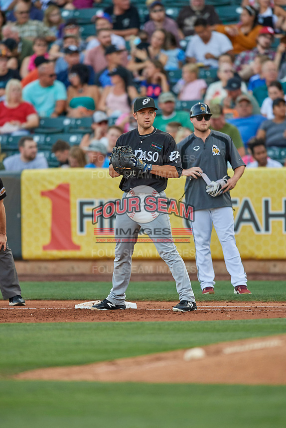 Jason Vosler (28) first baseman of the El Paso Chihuahuas on defense against the Salt Lake Bees at Smith's Ballpark on August 17, 2019 in Salt Lake City, Utah. The Bees defeated the Chihuahuas 5-4. (Stephen Smith/Four Seam Images)