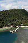 Aerial of Kri Island Raja Ampat Sorido Bay Resort