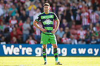 Neil Taylor looks dejected during the Barclays Premier League match between Southampton v Swansea City played at St Mary's Stadium, Southampton