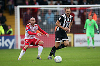 James Hanson of Grimsby Town and Scott Cuthbert of Stevenage during Stevenage vs Grimsby Town, Sky Bet EFL League 2 Football at the Lamex Stadium on 12th October 2019