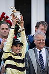 LOUISVILLE, KENTUCKY - MAY 04: Flavien Prat and Bill Mott with the Kentucky Derby trophy at Churchill Downs in Louisville, Kentucky on May 04, 2019. Evers/Eclipse Sportswire/CSM