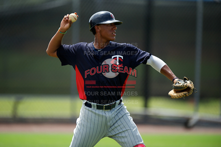 GCL Twins Jorge Fernandez #49 during practice before a Gulf Coast League game against the GCL Rays at the Charlotte Sports Complex on July 19, 2012 in Port Charlotte, Florida.  GCL Twins defeated the GCL Astros 4-2.  (Mike Janes/Four Seam Images)