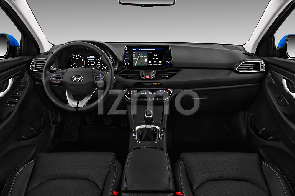 Stock photo of straight dashboard view of a 2018 Hyundai i30 Sky 5 Door Wagon